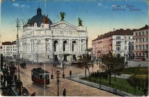 1916 Lviv, Lwów, Lemberg; Teatr / Theater / theatre, tram (fa)