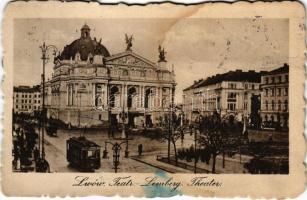 1923 Lviv, Lwów, Lemberg; Teatr / Theater / theatre, tram (fl)