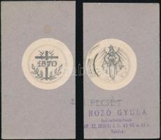 Bozó Gyula (1913-2004), 2 db mű: Egyházi tervek (feltehetően bélyegző vagy érem tervek). Ceruza, papír, kartonra kasírozva, az egyik kartonon pecséttel jelzett. d: 4 cm