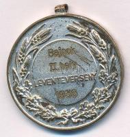 Berán Lajos (1882-1943) 1936. Bajnok II. hely Leventeverseny 1936. ezüstözött Br díjérem füllel (31mm) T:2 kopott ezüstözés