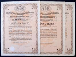 Budapest 1923. Budapest Székesfővárosi Közlekedési Részvénytársaság B kötvénye szelvénnyekkel (3x) sorszámkövetők T:III