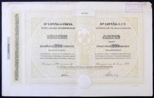 Budapest 1923. Dr. Lipták és Társa Építési és Vasipari Részvénytársaság részvénye 200K-ról szelvényekkel, bélyegzéssel T:II-
