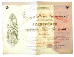 Szombathely 1926. Vasmegyei Általános Takarékpénztár Részvénytársaság részvénye 50P-ről néhány szelvénnyel, szárazpecséttel (2x) sorszámkövetők T:III