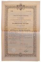 Budapest 1892. A Magyar Korona országai 4%-al kamatozó járadékkölcsön államadóssági kötvény 200K-ról, szárazpecséttel, bélyegzéssel, szelvényekkel (2x) T:III