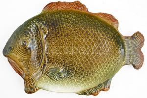 Gránit halas tál, mázas kerámia, kis lepattanással, 50×33 cm