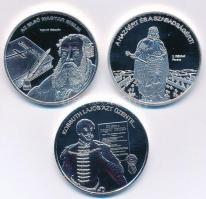 DN Nemzetünk Nagyjai sorozat 3xklf ezüstözött rézötvözet emlékérem, Károli Gáspár, II. Rákóczi Ferenc, Kossuth Lajos (35mm) T:PP