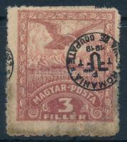 Debrecen II. 1920 3f közönséges papíron fordított felülnyomással, Bodor vizsgálójellel (12.500) (vegyes minőség / mixed quality)