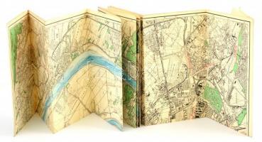 cca 1930-1940 Vízi sporttérképek 5.: a Duna a Budapest-Vác szakaszának térképe, 1:25000, M. Kir. Állami Térképészet, II. kiadás. 42×192 cm
