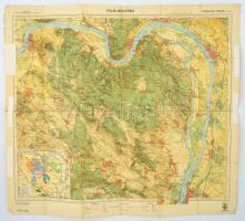 cca 1930 Pilis Hegység, Kirándulók térképe, 2. szám, 1: 50.000, kiadja: Bp., M. Kir. Állami Térképészet, javított, a hajtás mentén szakadt, 68x76 cm