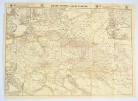 cca 1910 Közép-Európa vasuti térképe, Bp. Posner Károly Lajos és fia, hajtásnyomokkal, a hajtásnyomok mentén kis lyukakkal, 52x70 cm./ cca 1910 Railroad map of Central Europe, with litlte holes, 52x70 cm.