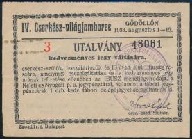 1933 Gödöllő, IV. Cserkész-világjamboree utalvány kedvezményes jegy váltására