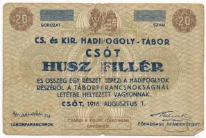 Csót / Hadifogolytábor 1916. augusztus 1. 20f számozás nélkül, aláírással T:III- hajtás mentén ly.