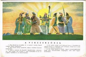 Vérszerződés. Kiadja Magyar Könyv / Hungarian Blood oath, irredenta art postcard s: Szörényi (EK)