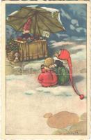 1928 Christmas children art postcard s: Castelli (EK)