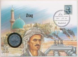 Irak 1971. 10f Cu-Ni bélyeges, érmés borítékban, német nyelvű leírással T:1-,2 Iraq 1971. 10 Fils Cu-Ni in coin letter with stamp, with German language description C:AU,XF