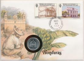 Honduras 1980. 10c Cu-Ni felbélyegzett borítékon, bélyegzéssel, német nyelvű leírással T:1 Honduras 1980. 10 Centavos Cu-Ni in envelope with stamp, with German description C:UNC