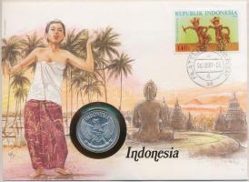 Indonézia 1961. 50s Al, felbélyegzett borítékban, bélyegzéssel, német nyelvű leírással T:1- Indonesia 1961. 50 Sen Al in envelope with stamp, with German description C:AU