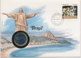 Brazília 1984. 50C acél, felbélyegzett borítékban, bélyegzéssel, német nyelvű leírással T:1-,2 Brazil 1984. 50 Cruzerios steel in envelope with stamp, with German description C:AU,XF