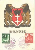 Danzig / coat of arms of Gdansk + DANZIG GRÜSST JUBELND SEINEN FÜHRER UND BEFREIER ADOLF HITLER 19. Sept 1939 NS So. Stpl. (EK)