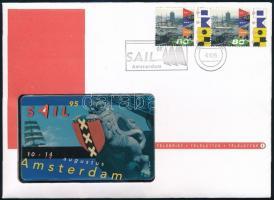 1995 Amsterdam Sail, holland telefonkártya, 1995. aug., 1. számú sorszámmal, első kiadású telefonkártya, bélyeges emléklappal.