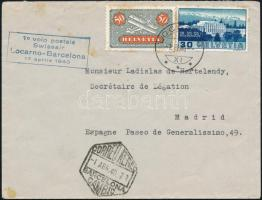 1940 Locarno-Barcelona légiposta levél hatszögű bélyegzővel Madridba