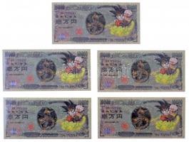 Japán DN 10000Y Dragonball Z Battle of Z sorszámozott, sorszámkövető fantáziabankjegy (5x) T:I Japan ND 10000Y Dragonball Z Battle of Z fantasy banknotes with sequential serials (5x) C:UNC