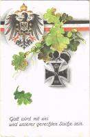 1916 Gott wird mit uns und unserer gerechten Sache sein / WWI German military, patriotic propaganda with coat of arms and flag (szakadás / tear)