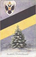 Herzlichen Weihnachtsgruß! / Christmas greeting with the flag and coat of arms of Austria-Hungary. H.H.i.W. Nr. 1452.