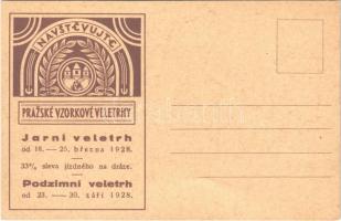 Navstevujte Prazské Vzorkové Veletrhy! / Visit the Prague Sample Fairs! advertising card for the spring and autumn fair