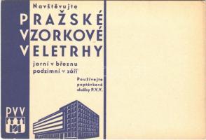Navstevujte Prazské Vzorkové Veletrhy! / Visit the Prague Sample Fairs! advertising card (EB)