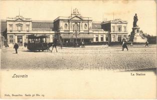 Leuven, Louvain; La Station / railway station, horse-drawn tram