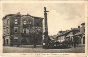 Chernivtsi, Czernowitz, Cernauti, Csernyivci; Str. Regina Maria cu Monumentul ostasesc / street view, military monument, shop of Josef Hildebrand (from postcard booklet) (crease)