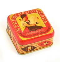 Békési Mézcukorka, Hangya szövetkezeti fém doboz, kis kopásnyomokkal, 7×7×3,5 cm