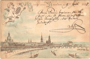 1885 (Vorläufer!) Dresden. Gruss aus... J. Miesler No. 650. Art Nouveau litho (Rb)