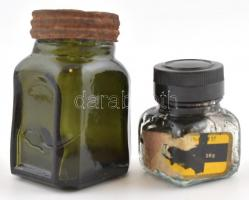 2 db üveg tintatartó, m: 5 cm, 7,5 cm
