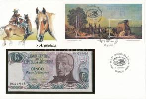 Argentína 1983-1984. 5P felbélyegzett borítékban, bélyegzéssel T:I  Argentina 1983-1984. 5 Pesos in envelope with stamp and cancellation C:UNC