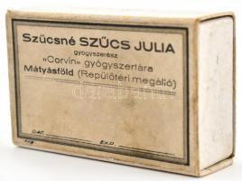 Mátyásföld Corvin gyógyszertár pirulás, gyógyszeres doboz 6x4 cm