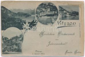 1893 (Vorläufer) Vitznau, Herzlichen Glückwunsch zum Jahreswechsel! Familie Kohler / New Year greeting of the Kohler Family, Art Nouveau, floral (tear)