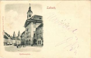 1898 (Vorläufer!) Ljubljana, Laibach; Rathhausplatz / town hall square, market