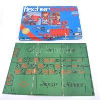 Fischertechnik építőjáték eredeti dobozában, leírással, kisse talán hiányos, mellé rulett játék táblája