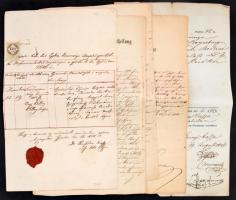 cca 1820-1860 6 db okmány. részben a budai városházáról különféle hivatalos ügyekben
