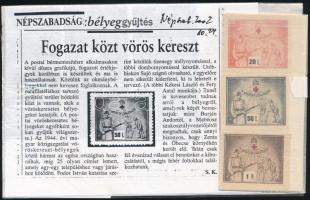 1944 3db vöröskereszt bélyeg 20Ft, 50Ft, 1P + Újságcikk
