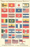 Flaggen der Seestaaten. K. Flagge der Kriegsschiffe, H. Flagge der Handelsschiffe / Drapeaux Maritimes / Flags of the Maritime States. Flags of warships (K) and merchant ships (H) (EK)