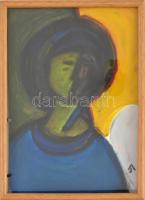 Aknay jelzéssel: Ikon. Olaj, papír, üvegezett fa keretben, 30x21 cm