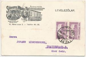 1925 Schwarcz Mózes FIai Norinbergi rövid és szövött áruk nagykereskedése, Solingeni és steyeri acél áruk gyári raktára. Budapest VI. Révay utca 3. / Hungarian shop advertising card (EK)