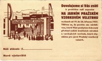 1933 Prazské Vzorkové Veletrhy / Visit the Prague Sample Fairs! advertising card (EK)