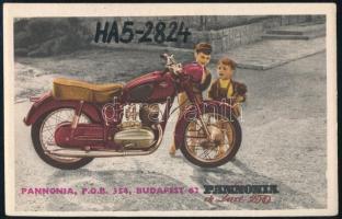 cca 1958 A Pannónia de Luxe 250 motorkerékpár rádióamatőr kártyán