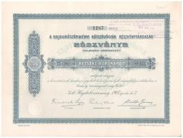 Hajdúböszörmény 1907. Hajdúböszörményi Kötszövőgyár Részvénytársaság részvénye 200K-ról néhány szelvények, felülbélyegzéssel T:I-