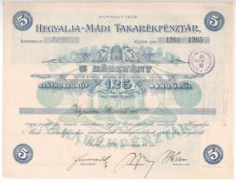 Mád 1926. Hegyalja-Mádi Takarékpénztár 5 részvénye összesen 125P-ről, szelvényekkel, bélyegzésekkel és szárazpecséttel T:I-