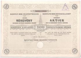Budapest 1923. Budapesti Bank Részvénytársaság részvénye 20.000K-ról bélyegzéssel, szelvényekkel T:I-